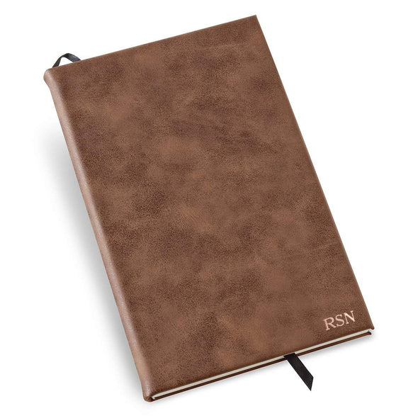 Personalized Rustic Vegan Leather Journal - RoseGold - JDS
