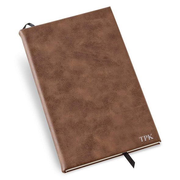 Personalized Rustic Vegan Leather Journal - Silver - JDS