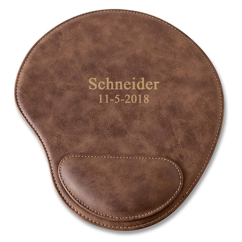 Rustic Faux Leather Personalized Mouse Pad - 2Lines