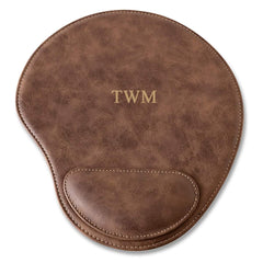 Rustic Faux Leather Personalized Mouse Pad - 3Initials