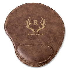 Rustic Faux Leather Personalized Mouse Pad - Antler