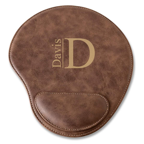 Rustic Vegan Leather Personalized Mouse Pad - Modern - JDS