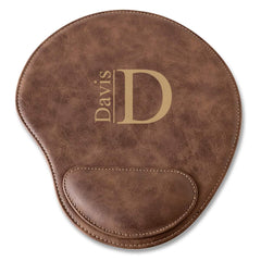 Rustic Faux Leather Personalized Mouse Pad - Modern