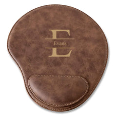 Rustic Faux Leather Personalized Mouse Pad - Stamped
