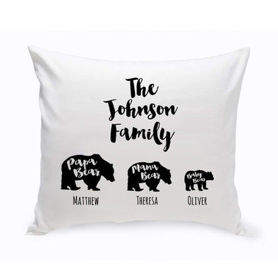 Personalized Bear Family Throw Pillow -  - JDS