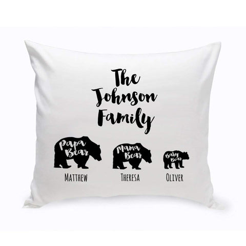 Personalized Bear Family Throw Pillow -  - Home Decor - AGiftPersonalized