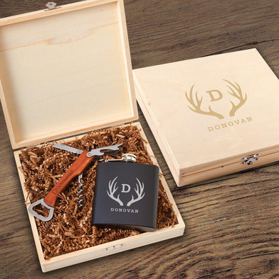 Irvine Groomsmen Flask Gift Box Set - Antler - JDS