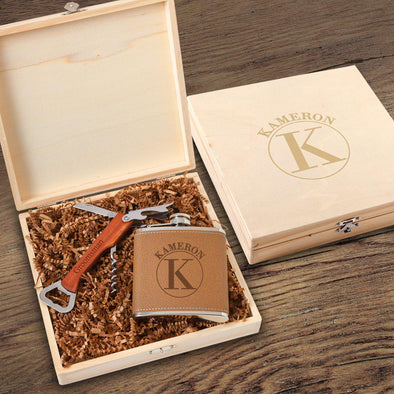 Personalized Kelso Groomsmen Flask Gift Box Set - Circle - JDS
