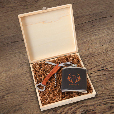 Personalized Dunbar Groomsmen Flask Gift Box Set - Antler
