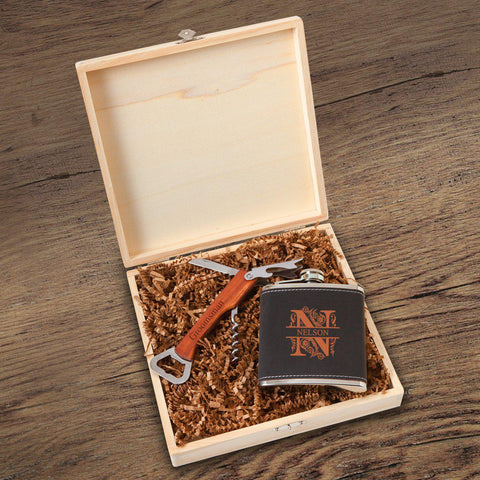 Personalized Dunbar Groomsmen Flask Gift Box Set -