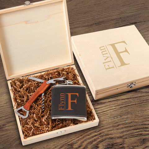 Personalized Dunbar Groomsmen Flask Gift Box Set - Modern