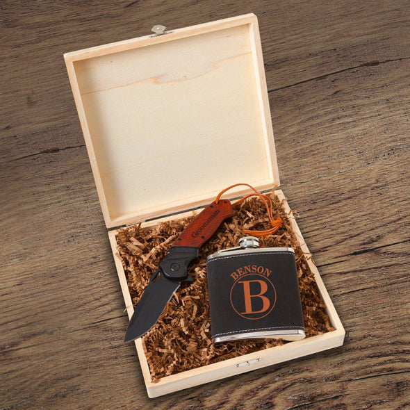 Personalized Stirling Groomsmen Flask Gift Box Set - Circle - JDS