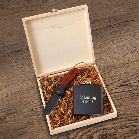 Personalized Larkhall Groomsmen Flask Gift Box - 2 Lines - JDS