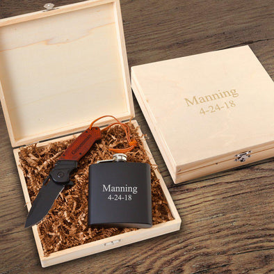 Personalized Larkhall Groomsmen Flask Gift Box -  - JDS