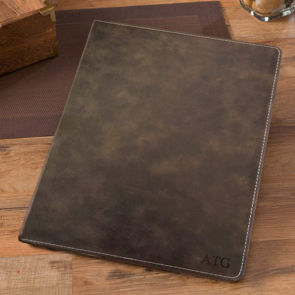 Personalized Debossed Rustic Portfolio with Notepad - Blind - JDS