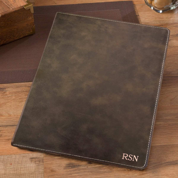 Personalized Debossed Rustic Portfolio with Notepad - RoseGold - JDS