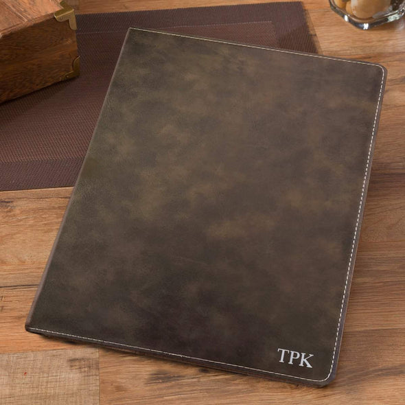 Personalized Debossed Rustic Portfolio with Notepad - Silver - JDS