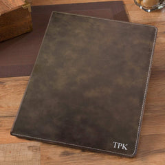 Personalized Rustic Portfolio with Notepad - Silver - Desk and Office - AGiftPersonalized