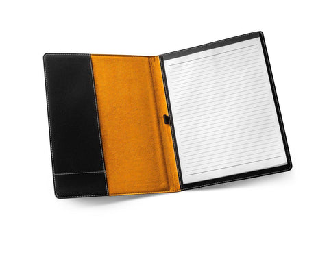 Personalized Black Portfolio with Notepad -