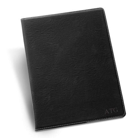 Personalized Black Portfolio with Notepad - Blind