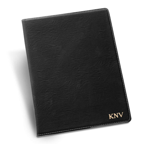 Personalized Black Portfolio with Notepad - Gold