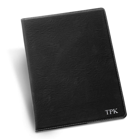 Personalized Black Portfolio with Notepad - Silver