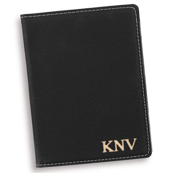 Personalized Black Passport Holder - Gold - JDS