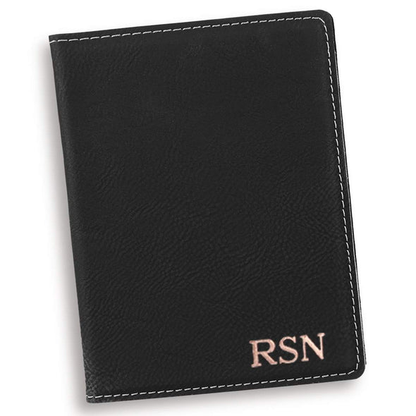 Personalized Black Passport Holder - Silver - JDS