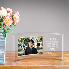 Personalized Graduation Accomplishment Glass Photo Frame at AGiftPersonalized