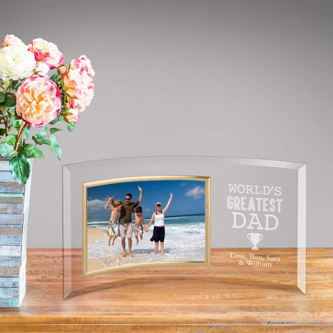 Personalized World's Greatest Dad Glass Picture Frame -  - Frames - AGiftPersonalized