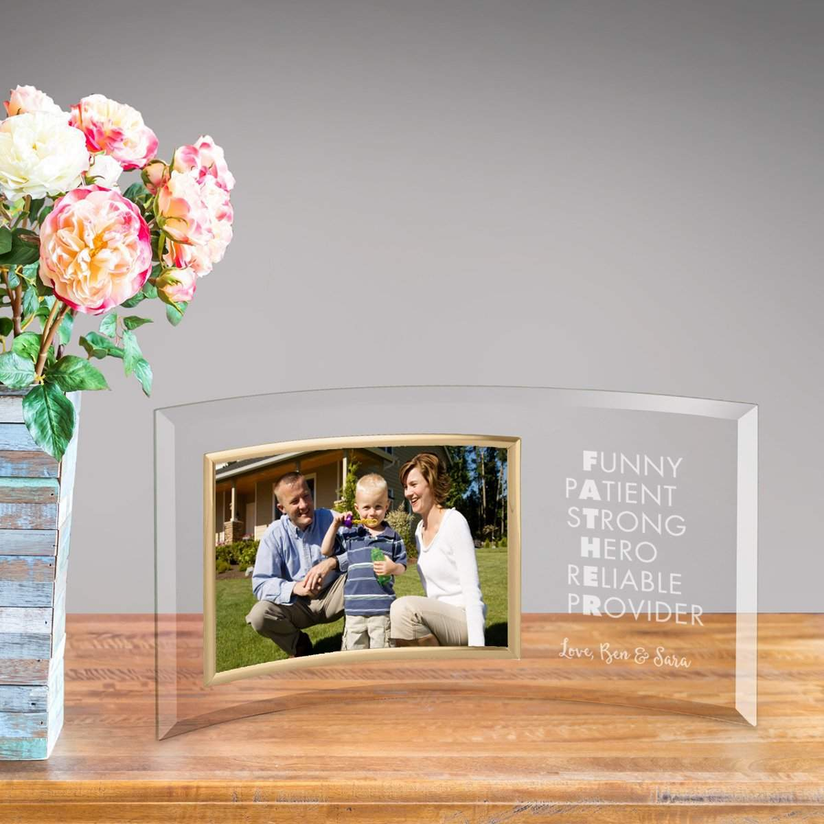 Personalized Strong Father Glass Picture Frame