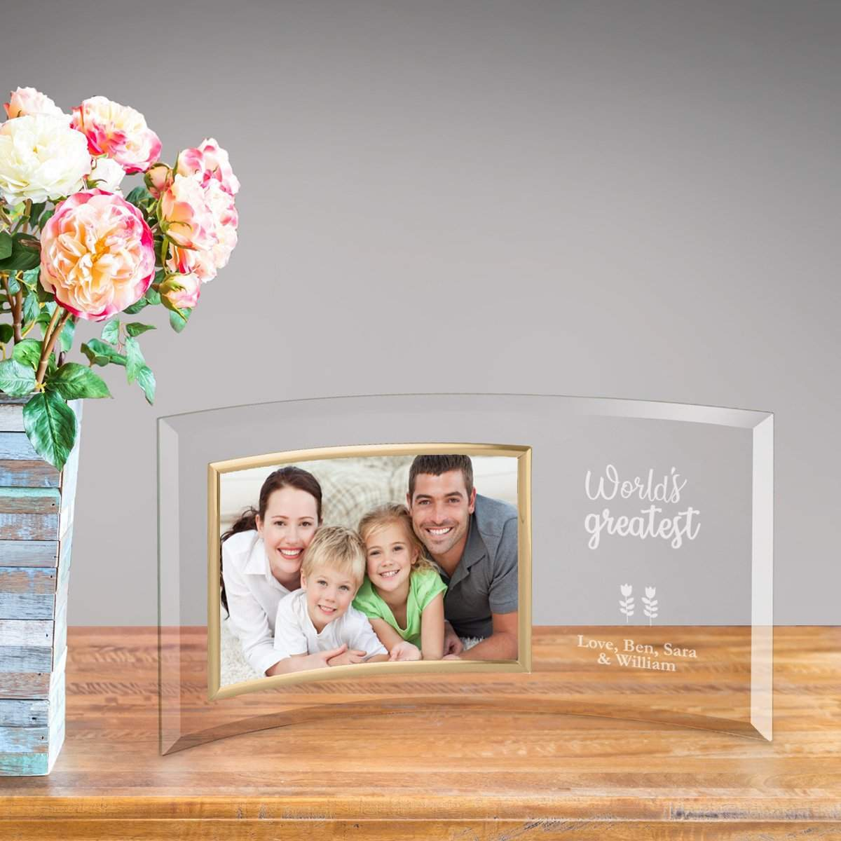 Personalized World\'s Greatest Mom Glass Picture Frame