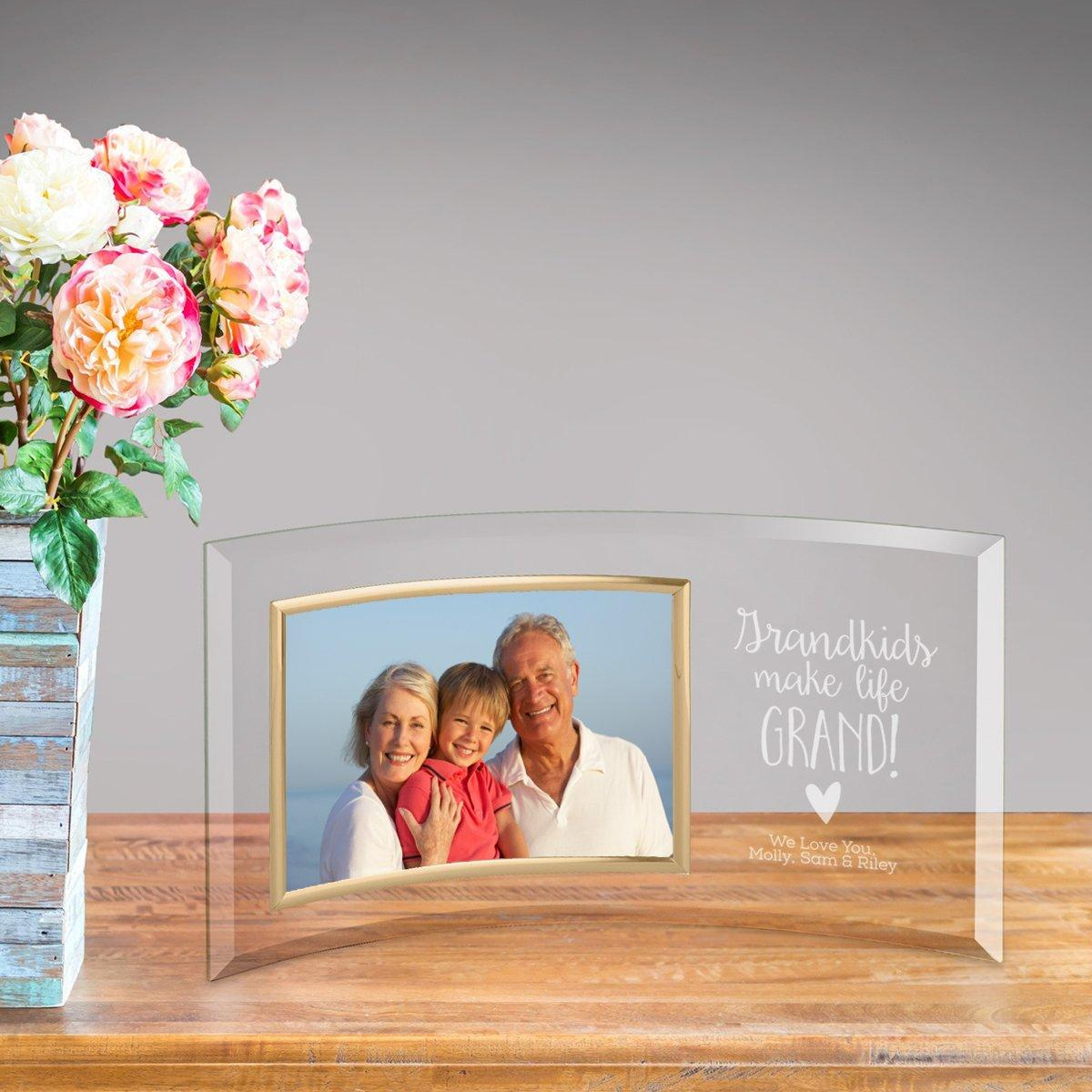 Personalized Grandkids Make Life Grand Glass Picture Frame