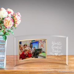Personalized World's Greatest Teacher Glass Picture Frame -  - Frames - AGiftPersonalized