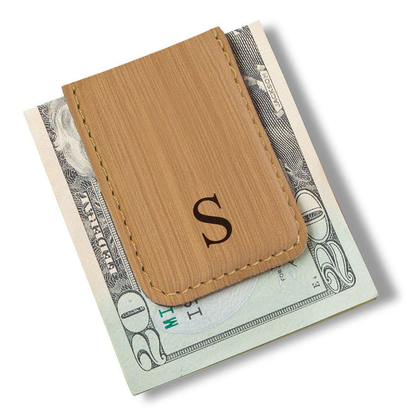 Men's Magnetic Money Clip - Single Initial - Bamboo - JDS