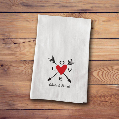 Tea Towels - Love - LoveArrows - Home Decor - AGiftPersonalized
