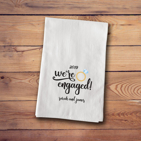 Tea Towels - Engagement & Marriage Towels - Engaged - Home Decor - AGiftPersonalized