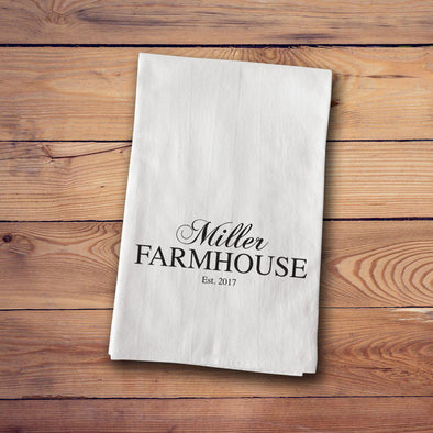 Personalized Farmhouse Style Tea Towels - FamilyName - JDS