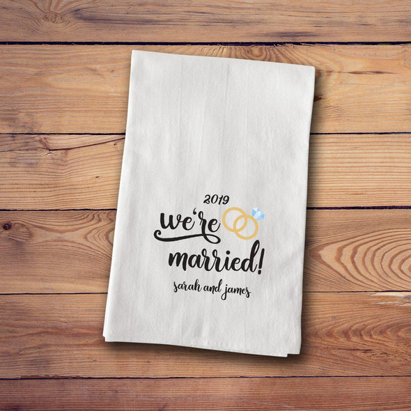 Personalized Engagement & Marriage Tea Towels - Married - JDS