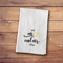 Tea Towels - Engagement & Marriage Towels - MrMrsRing - Home Decor - AGiftPersonalized