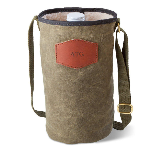 Personalized Waxed Canvas Field Tan Growler Carrier - Blind - JDS