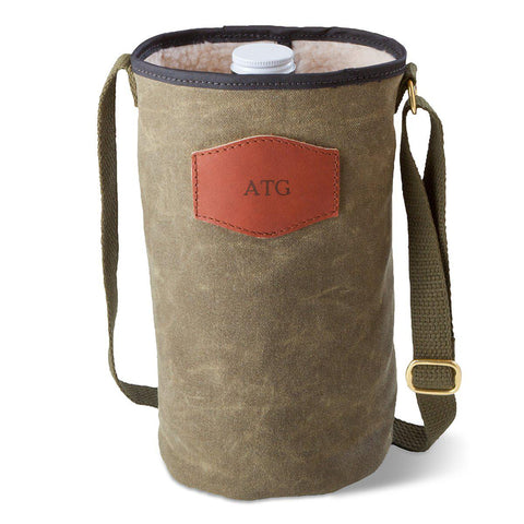 Personalized Growler Carrier – Waxed Canvas – Field Tan - Blind - Travel Gear - AGiftPersonalized
