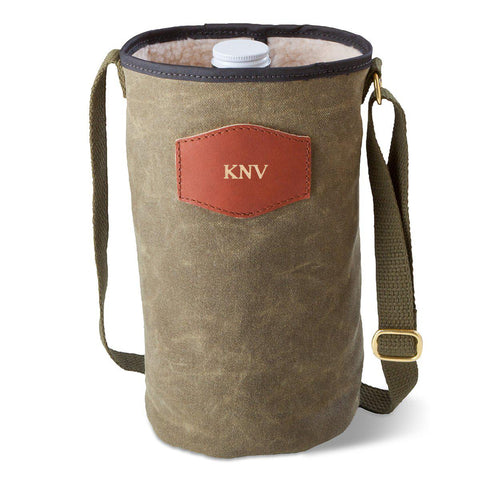 Personalized Growler Carrier – Waxed Canvas – Field Tan - Gold - Travel Gear - AGiftPersonalized