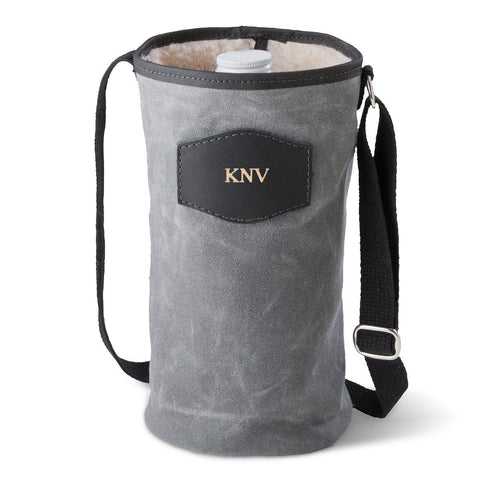 Personalized Growler Carrier – Waxed Canvas – Charcoal - Gold