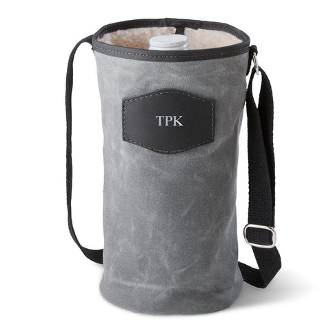 Personalized Growler Carrier – Waxed Canvas – Charcoal - Silver