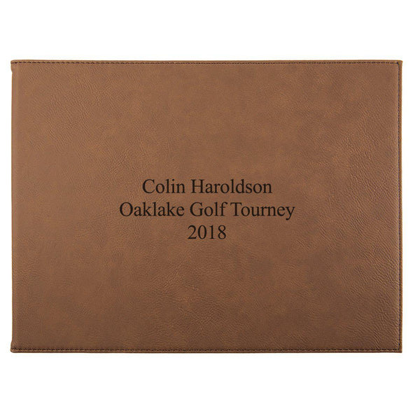 "Personalized Certificate Holder 9"" x 12"" - Dark Brown - 3Lines - JDS"