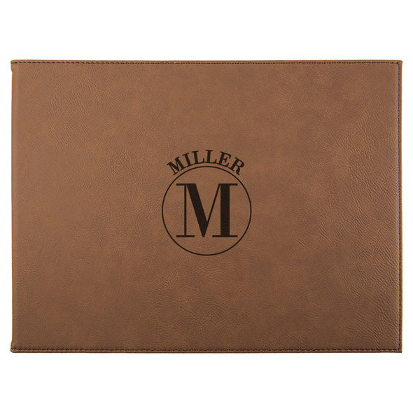 "Personalized Certificate Holder 9"" x 12"" - Dark Brown - Circle - JDS"