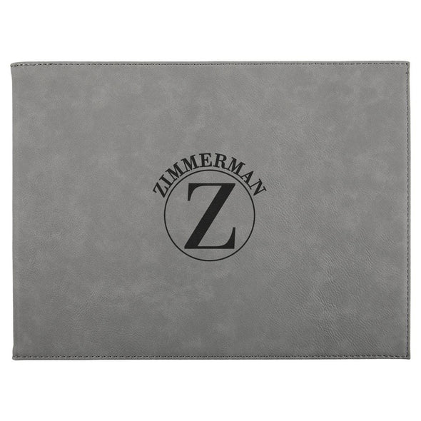 "Personalized Certificate Holder 9"" x 12"" - Gray - Circle - JDS"