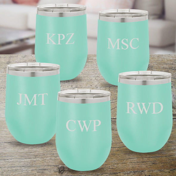 Personalized Bridesmaid Set of 5 - 12 oz. Insulated Wine Tumbler - Teal - 3Initials - JDS