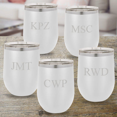 Personalized Bridesmaid Set of 5 12 oz. Insulated Wine Tumbler - White - 3Initials - JDS